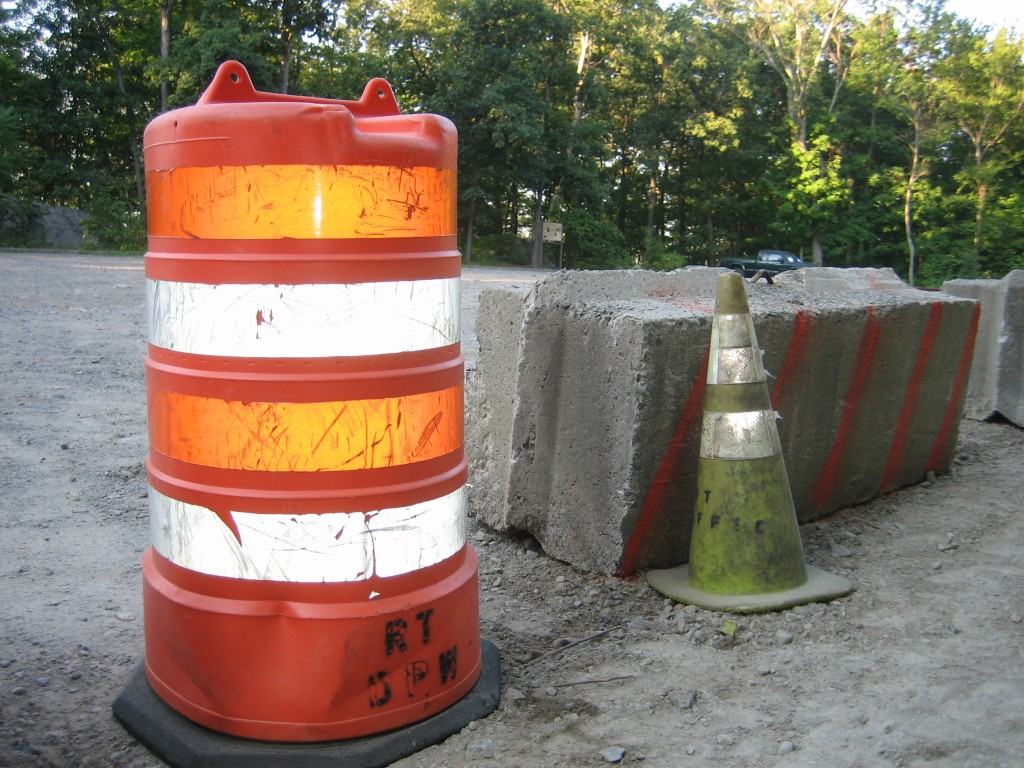 Rockaway Township DPW barricade with kiosk in background