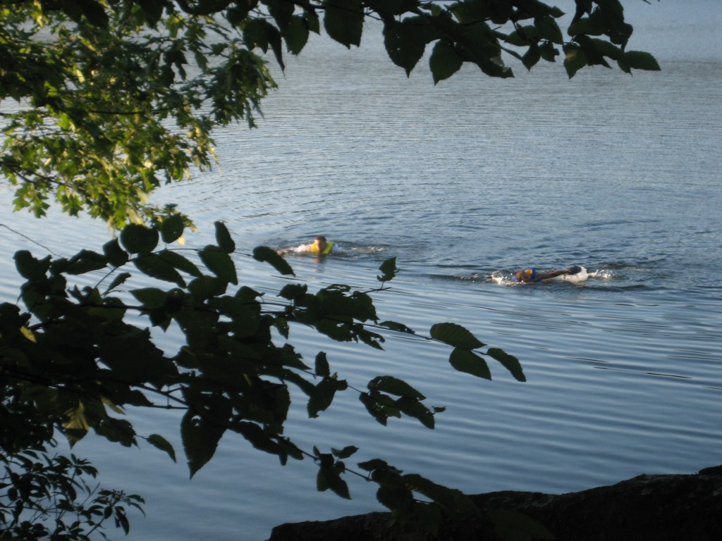 Swimmers on the evening of July 28, 2010